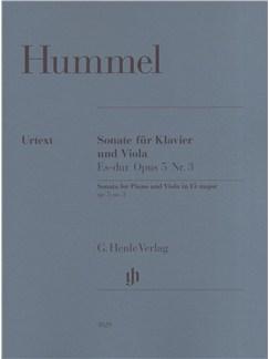 Johann Nepomuk Hummel: Sonata for Piano and Viola in Eb Major Op.5 No.3 Books | Viola, Piano Accompaniment