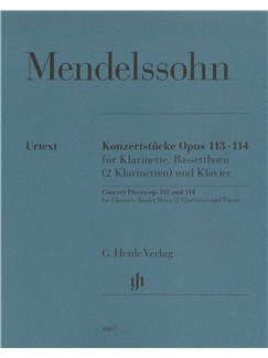 Felix Mendelssohn Bartholdy: Concert Pieces Op.113 And 114 For Clarinet, Basset Horn (2 Clarinets) And Piano Books | Basset Horn, Clarinet, Piano Accompaniment