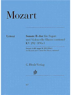 W.A. Mozart: Sonata In B Flat K.292 (Henle Urtext Edition) Books | Bassoon, Cello, Continuo