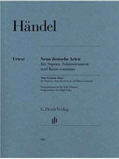 Georg Friedrich Händel: Nine German Arias For Soprano, Solo Instrument And Basso Continuo Books | Soprano, Continuo