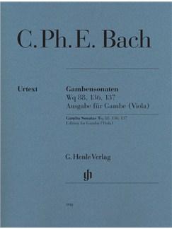C.P.E. Bach: Gamba Sonatas Wq 88, 136, 137, Edition for Gamba (Viola) Books | Viola, Continuo