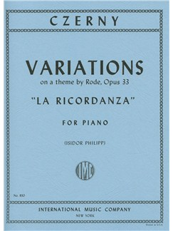 Carl Czerny: Variations On A Theme By Rode Op.33 'La Ricordanza' Books | Piano