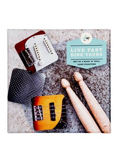 Live Fast Dine Young: Coasters (4 Pack)  |