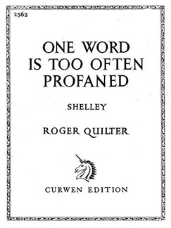 Quilter, R One Word Is Too Often Profaned Voice And Piano  | Klavier, Gesang