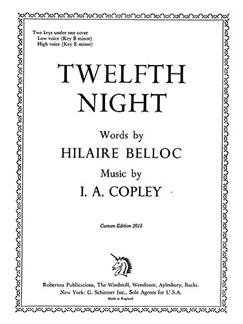 Copley Twelfth Night Vce Piano  | Klavier, Gesang