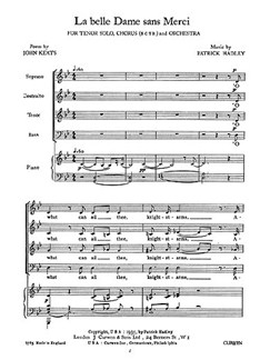 Patrick Hadley: La Belle Dame Sans Merci (Vocal Score) Books | Tenor Solo, Soprano, Alto, Tenor, Bass, Piano