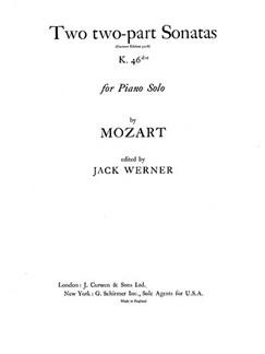 Mozart Two 2part Sonatas K.46d-e Pf  | Klavier