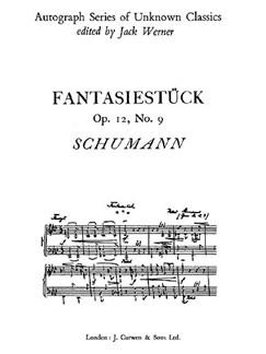 Schumann, R Fantasiestuck Op12 No9 Piano  | Piano