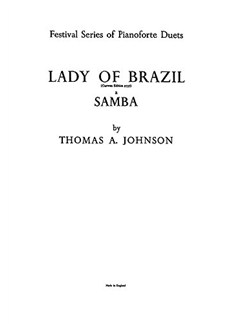 Johnson, T Lady Of Brazil-a Samba Piano Duet Books | Piano