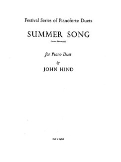 Hind, J Summer Song Piano Duet  | Piano