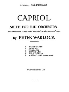 Peter Warlock: Capriol Suite (Full Orchestra Score) Books | Orchestra