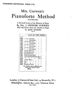 Mrs Curwen's Pianoforte Method Unbarred Sentences Steps I-VI Books | Piano