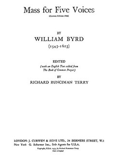 Byrd, W Mass For Five Voices Books | Sattb