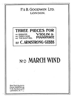 Armstrong Gibbs March Wind (No.2 Of Three Pieces) Violin/Piano Books | Violin, Piano Accompaniment