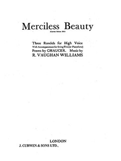 Ralph Vaughan Williams: Merciless Beauty (String Trio) Libro | Voz Alta, Conjunto de Cuerda(Trío), Acompañamiento de Piano