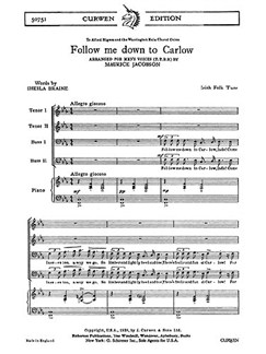 Jacobson, M Follow Me Down To Carlow Ttbb/Piano  | Kor