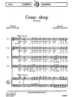 Blower, M Come, Sleep Ttbb/Piano    Chor