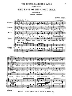 James Hook: The Lass Of Richmond Hill Books | SATB