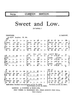 Joseph Barnby: Sweet And Low (SATB Tonic Sol-Fa) Books | SATB, Tonic Sol-fa