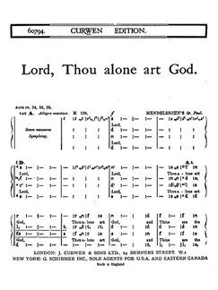 Mendelssohn Lord, Thou Alone Art God Satb Tonic Solfa  | Solfeggio