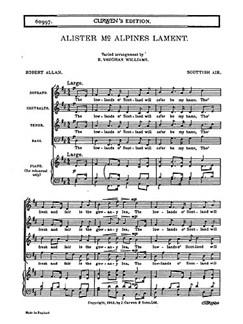 Ralph Vaughan Williams: Alister McAlpine's Lament (SATB) Libro | SATB