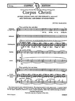 Peter Warlock: Corpus Christi SATB/Piano+Sop/Ten Solos Books | Choral