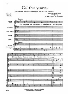 R. V. Williams: Ca' The Yowes Tenor Solo/SATB/Piano Books | Choral