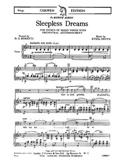 Ethel Smyth: Sleepless Dreams (Vocal Score) Books | Soprano, Alto, Tenor, Bass, Piano