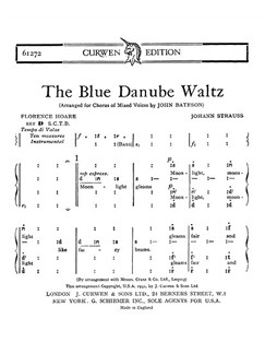 Strauss: The Blue Danube Waltz SATB Tonic Solfa Books | Tonic Sol-fa