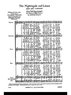 Holst, G The Nightingale And Linnet Satb/Piano (English/Welsh)  | Choral