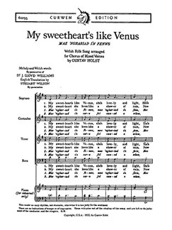 G. Holst: My Sweetheart's Like Venus (SATB) Books | Choral