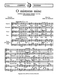 Thiman, E O Mistress Mine Satb  | Choral
