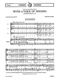 Martin Shaw: With A Voice Of Singing (SAB/Organ Accompaniment) Books | SAB, Organ Accompaniment