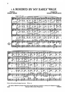 A Rosebud By My Early Walk Books | SATB, Piano Accompaniment for rehearsal only