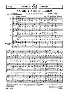 Peter Warlock: Come To Bethlehem SATB Books | Choral