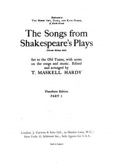 Hardy, T The Songs From Shakespeare's Plays Satb  | Choral