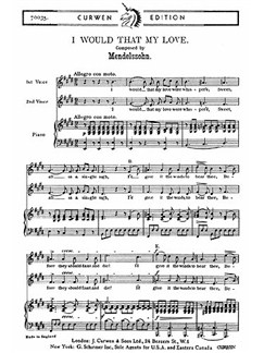 Mendelssohn: I Would That My Love (2pt) Books | 2-Part Choir, Piano