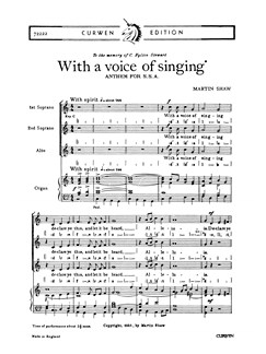 Martin Shaw: With A Voice Of Singing (SSA and Organ) Books | Piano, SSA