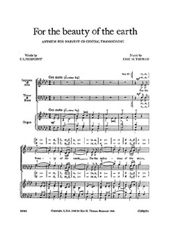 Eric Thiman: For The Beauty Of The Earth Books | SATB, Organ Accompaniment