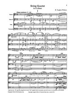Ralph Vaughan Williams: String Quartet In G Minor Score Books | String Quartet