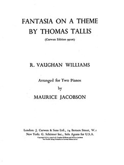Ralph Vaughan Williams: Fantasia On A Theme By Thomas Tallis (2 Pianos) Bog | To klaverer