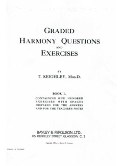 Thomas Keighley: Graded Harmony Questions And Exercises - Book 1 Books |