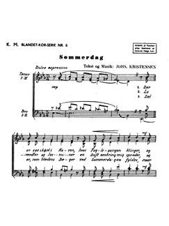 Johannes Kristensen: Sommerdag (TTBB) Bog | TTBB, Kor