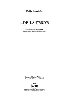 Kaija Saariaho: ...De La Terre (Violin Part) Books | Violin