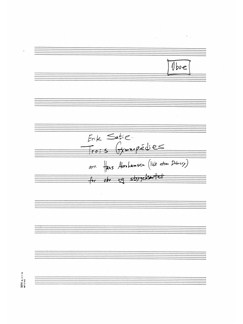 Erik Satie: Trois Gymnopedies (Arr. Hans Abrahamsen) Parts Books | Oboe, String Quartet