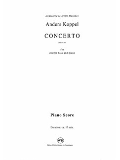 Anders Koppel: Concerto For Double Bass And Piano (Score And Part) Books | Double Bass, Piano Accompaniment