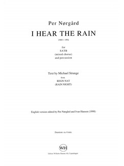 Per Nørgård: I Hear The Rain (SATB/Percussion) Books | SATB, Percussion