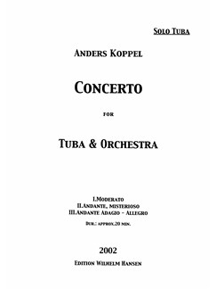Anders Koppel: Concerto For Tuba And Orchestra (Tuba Solo) Books | Tuba
