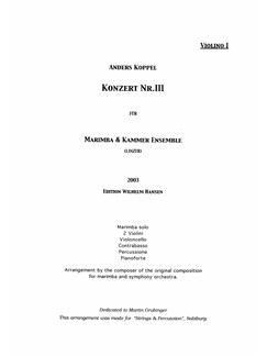 Anders Koppel: Concerto No. 3 For Marimba And Chamber Ensemble (2003) (Parts) Books | Chamber Group
