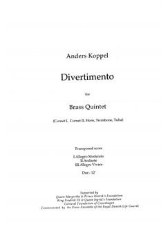 Anders Koppel: Divertimento For Brass Quintet (Score) Books | Brass Quintet